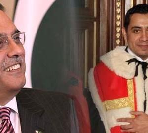 Lord Tariq receives Pakistan President Zardari on behalf of Queen