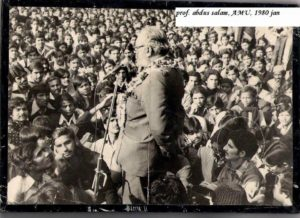Historic picture of Professor Dr. Abdus Salam speaking to students at Aligarh University in India