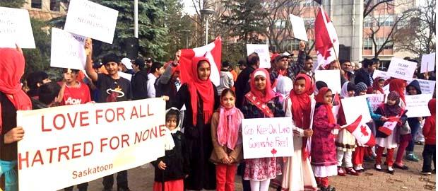 Ahmadiyya Muslims hold rally in Saskatoon to condemn Ottawa attacks