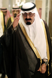 File - In this Tuesday, May 11, 2010 file photo, Saudi King Abdullah bin Abd al-Aziz, salutes as he arrives to the opening of the Gulf Cooperation Council (GCC) consultative summit in Riyadh, Saudi Arabia. Saudi Arabia, the United Arab Emirates and Bahrain said Wednesday, March 5, 2014 that they have recalled their ambassadors from the Gulf nation of Qatar over its alleged breach of a regional security deal in the clearest sign yet of the rift among Gulf Arab countries over Islamists in the region. Tensions have been brewing between Gulf countries and Qatar since Egyptians ousted President Hosni Mubarak and Qatarís massive financial and public support for his successor, Islamist President Mohammed Morsi, stood at odds with the UAE and Saudi Arabiaís policies. (AP Photo/Hassan Ammar, File)