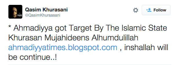 Qasim Khurasani on Twitter Ahmadiyya got Target By The Islamic State Khurasan Mujahideens Alhumdulillah http t.co m1TDxpbFhb inshallah will be continue..