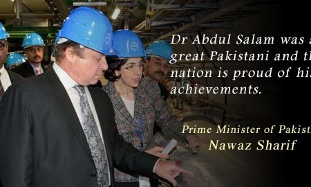 Pakistani PM Nawaz Sharif praises Dr Abdus Salam on his visit to CERN