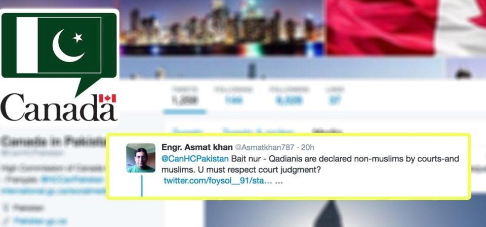 Canadian High Commission shuts down anti-Ahmadiyya Twitter troll