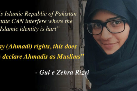 Shia rights activist Gul Zehra Rizvi opposes equal rights for Ahmadis